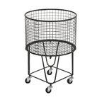 "Large Round Black Metal Hamper Basket With Wheels, 17""x25"""