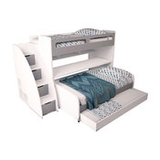 Bel Mondo Twin Bunk Bed With Sofa, Table And Trundle, Gloss White and Matte Silv
