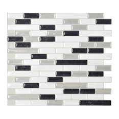 Muretto Alaska Mosaic Peel and Stick Wall Tiles, White and Grey, Set of 5