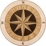 """Oshkosh Designs - Jupiter Wood Medallion, 36"""" Prefinished, 3/4"""" - The stately Jupiter medallion features a classic compass design bound by concentric rings of contrasting hardwood. Whether you're decorating with a nautical theme or simply wish to evoke the spirit of adventure, this elegant medallion from Oshkosh Designs will bring interest and direction to any space."""