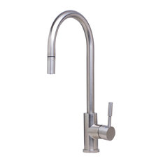 Superior Alfi Trade   1 Hole Pull Down Kitchen Faucet, Brushed Stainless Steel
