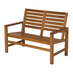 """Contemporary Garden Bench 40"""", Oak"""