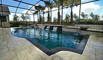 Indoor Geometric Pool with Waterfall and Water Bowls