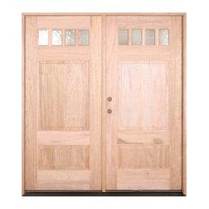 """6'0""""x6'8"""" Double 4 Lite Craftsman Exterior Mahogany Door, Right Door Open"""