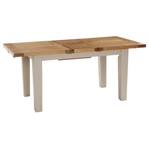 Natural Wood Extendable Dining Table, Putty, Large