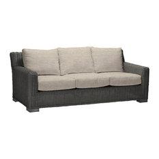 Summer Classics Rustic Wicker Sofa, Linen Dove Cushion