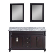 "Victoria 60"" Double Vanity, White Marble, With Mirror, Without Faucet, Square"
