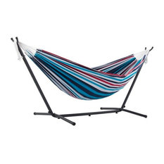 Vivere's Combo, Double Denim Hammock With Stand, 9'