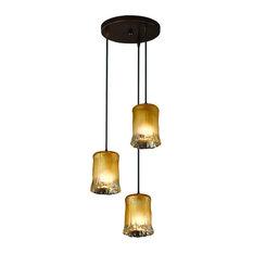 Justice Design Veneto Luce Mini 3-Light Cluster LED Pendant, Dark Bronze
