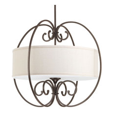 Overbrook 4-Light Large Pendant, Antique Bronze, Natural Linen Fabric