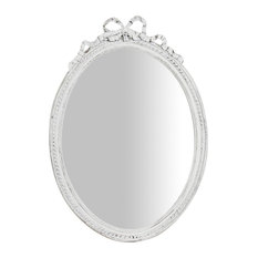 Bow Detail Wall Mirror, Antique White, 35x50 cm