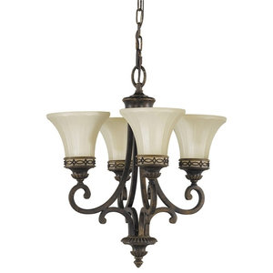 Walnut Single Tier 4-Light Chandelier