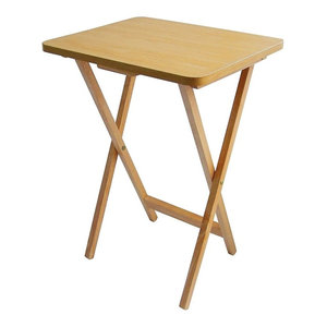 Contemporary Folding Table, Beech Wood With Veneer Finish, Square Design