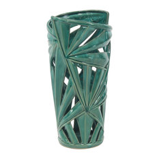 """Modern Style Large Green Ceramic Vase With Palm Leaf Silhouette, 8""""x16"""""""
