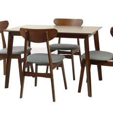 RattanUSA - Solid Wood 5-Piece Dining Set, Medium Brown, Yumiko Side Chairs - Dining Sets