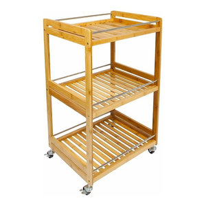 Modern Serving Trolley Cart, Natural Bamboo Wood With 3-Tier and 4-Wheel