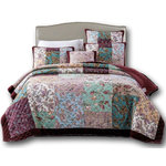 DaDa Bedding Collection - Bohemian Patchwork Burgundy Wine Red Velvety Trim Floral Paisley Bedspread Set, - Dream elegantly with our deep burgundy red multi colorful patchwork quilted pattern bedspread for a tasteful look added to your bedroom.