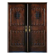 """Knotty Alder Exterior Front Entry Double Door 30""""x80""""x2, Left Hand Swing In"""
