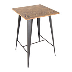 Oregon Industrial Pub Table, Medium Brown and Gray
