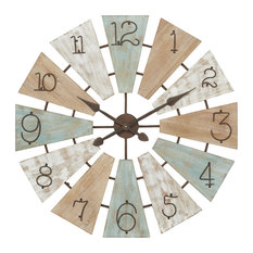 """Extra Large Round Multi Colored Wood Windmill Faced Wall Clock, 32"""" X 32"""""""