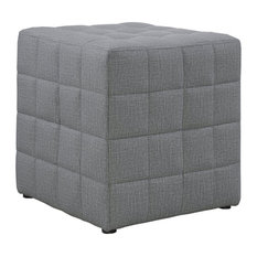 Monarch Quilted Cube Ottoman in Light Gray