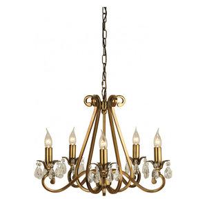 Pendant Light - Antique brass finish & lead crystal beads
