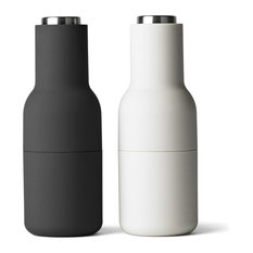 2-Piece Bottle Salt and Pepper Grinder Set With Steel Tops, Carbon and Ash