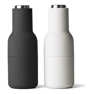 2-Piece Bottle Salt and Pepper Grinder Set With Steel Tops, Carbon and Ash