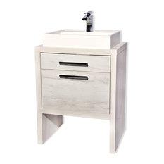 Montreal Oak Bathroom Vanity White Natural Oak 24-inch With Sink