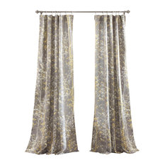 Half Moon - Forest Window Panel Gray and Yellow Set - Curtains