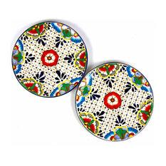 Encantada Handmade Dinner Plates, Set of 2, Dots and Flowers