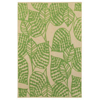 "Rectangular Area Rug, Sand and Green, 3'10""x5'5"""