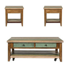 3 Piece Cabin Inspired Set with Coffee Table and Set Of 2 Side Table