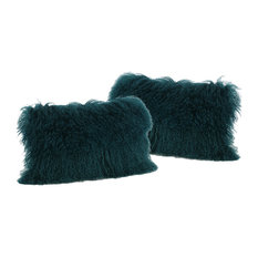 GDF Studio Marybelle Shaggy Lamb Fur Throw Pillow, Dark Teal, Set of 2
