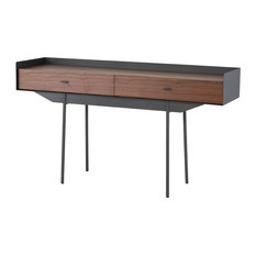 59-inch L Console Table Wrap Around Steel Frame Hand Crafted Solid Walnut