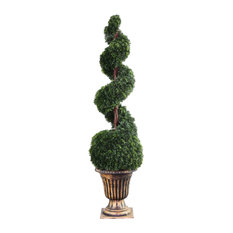 """Cedar Spiral Tree With Ball In A Black & Gold Vase, 54"""""""