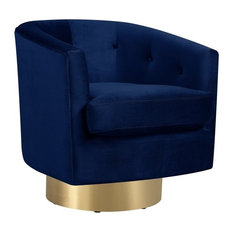 Picket House - Picket House Furnishings Carolina Tufted Swivel Accent Chair, Navy Blue - Armchairs and Accent Chairs