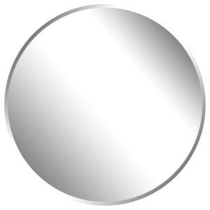 "Round Beveled Polished Frameless Wall Mirror With Hooks, 36"""