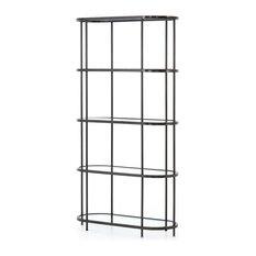 "78.5"" Lodovica Bookshelf Bookcase Iron Glass Rubbed Gunmetal Tempered Reclaimed"