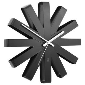 Umbra Ribbon Wall Clock, Black