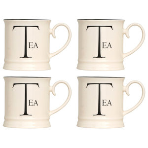 Fairmont and Main Script Kitchen Tankard Mugs, Set of 4, Tea
