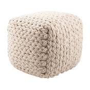 Jaipur Living Kyran Cream Textured Square Pouf