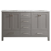 """Gela 60"""" Double Vanity In Grey W/ Carrara White Marble Countertop W/Out Mirror"""