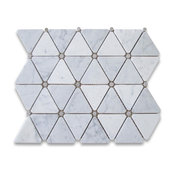 "12""x12"" Carrara White Triangle Mosaic, Gray Round Dots Honed, Chip Size: 2.75"""