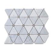 "12""x12"" Carrara White Triangle Mosaic, Gray Round Dots Honed, Chip Size: 2.75"""