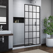 "DreamLine French Linea Toulon 34""W x 72""H 1-Panel Shower Door, Open Entry, Black"
