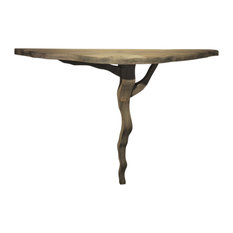 Rustic Modern Abstract Driftwood Console | Organic Shape Demilune Wall Mounted