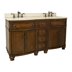 Beadboard Double Vanity, Cream Marble Top, 60.5""