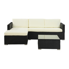 Divano Roma Furniture   Outdoor Sectional Wicker Sofa Set With Coffee  Table, Beige   Outdoor