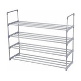 Modern Stackable Shoe Storage Rack, Grey Finished Plastic With 4 Open Shelves